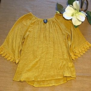 Bobeau Mustard Color Top with Sleeve Detail